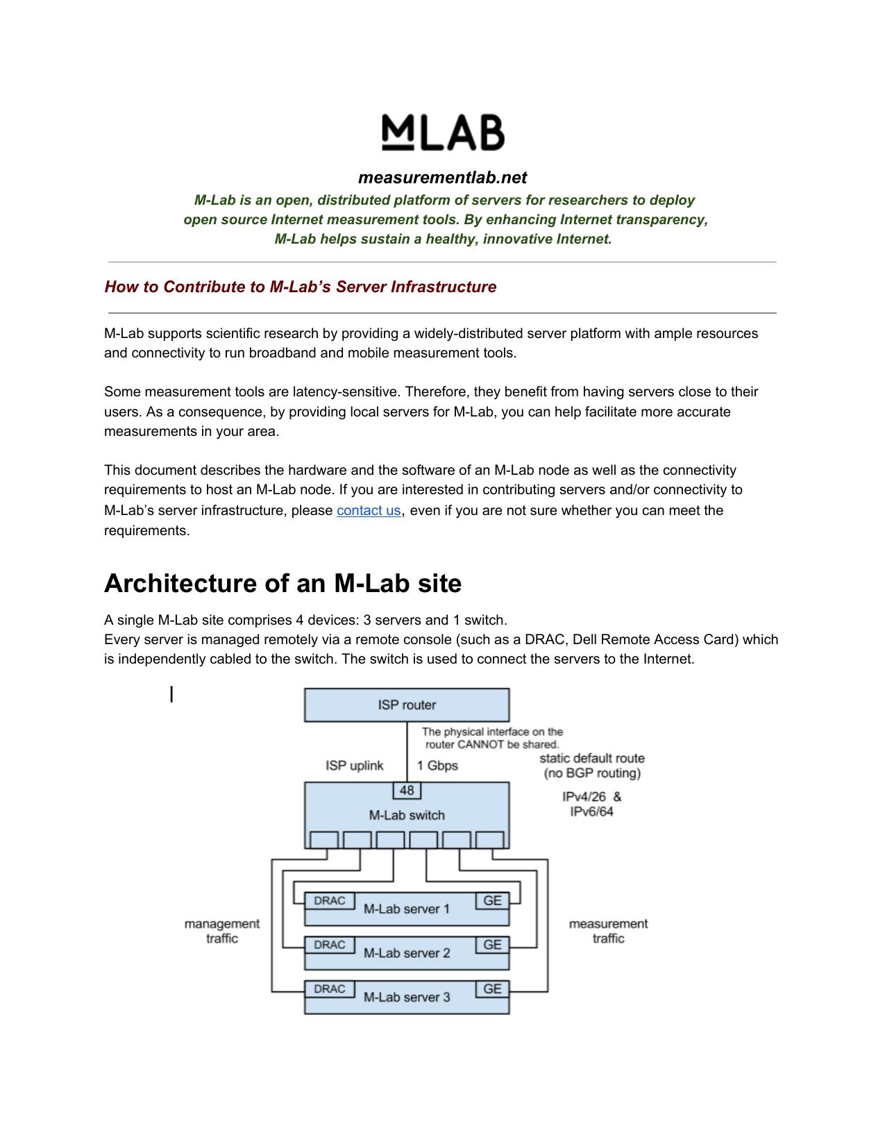 Architecture of an MLab site | manualzz com
