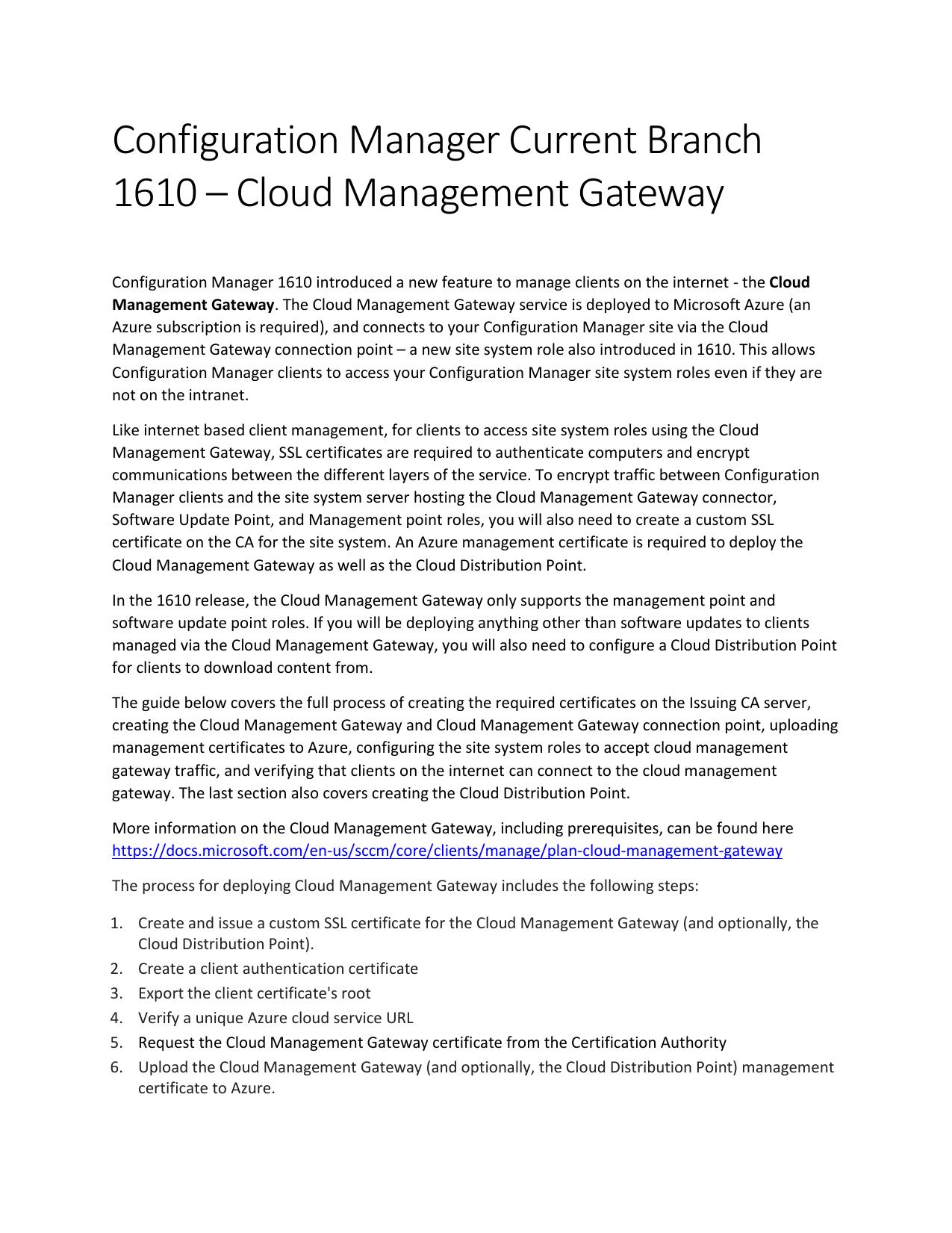 Configuration Manager Current Branch 1610 – Cloud Management