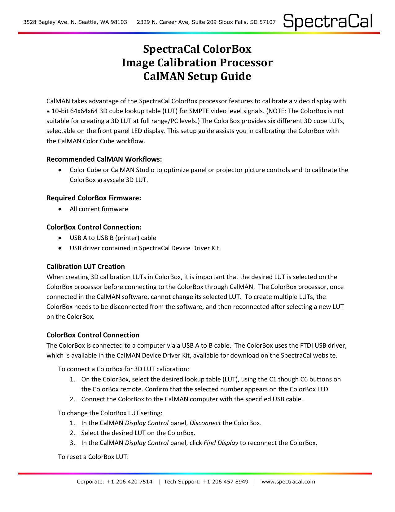 SpectraCal ColorBox Image Calibration Processor CalMAN Setup