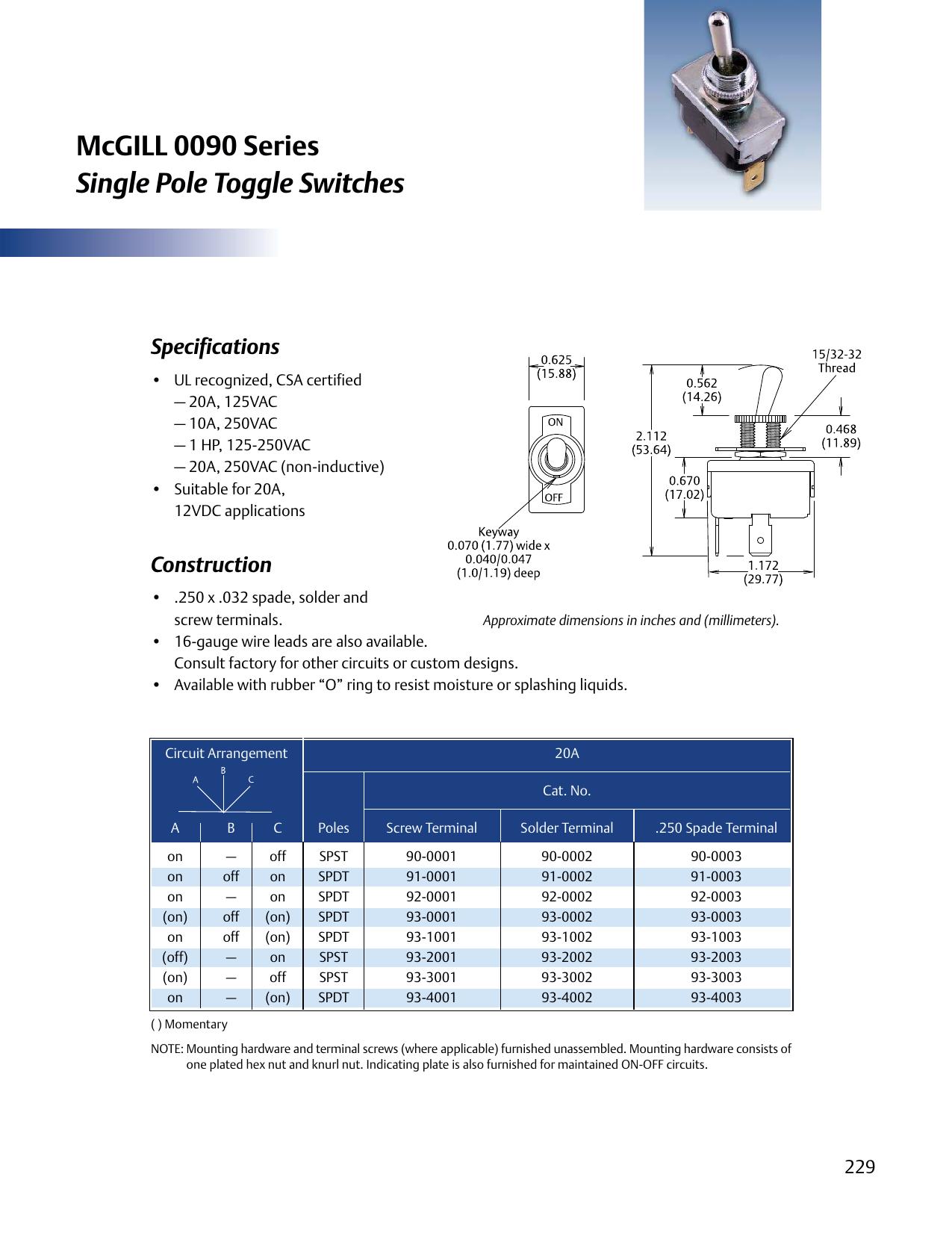 McGILL 0090 Series Single Pole Toggle Switches | manualzz com