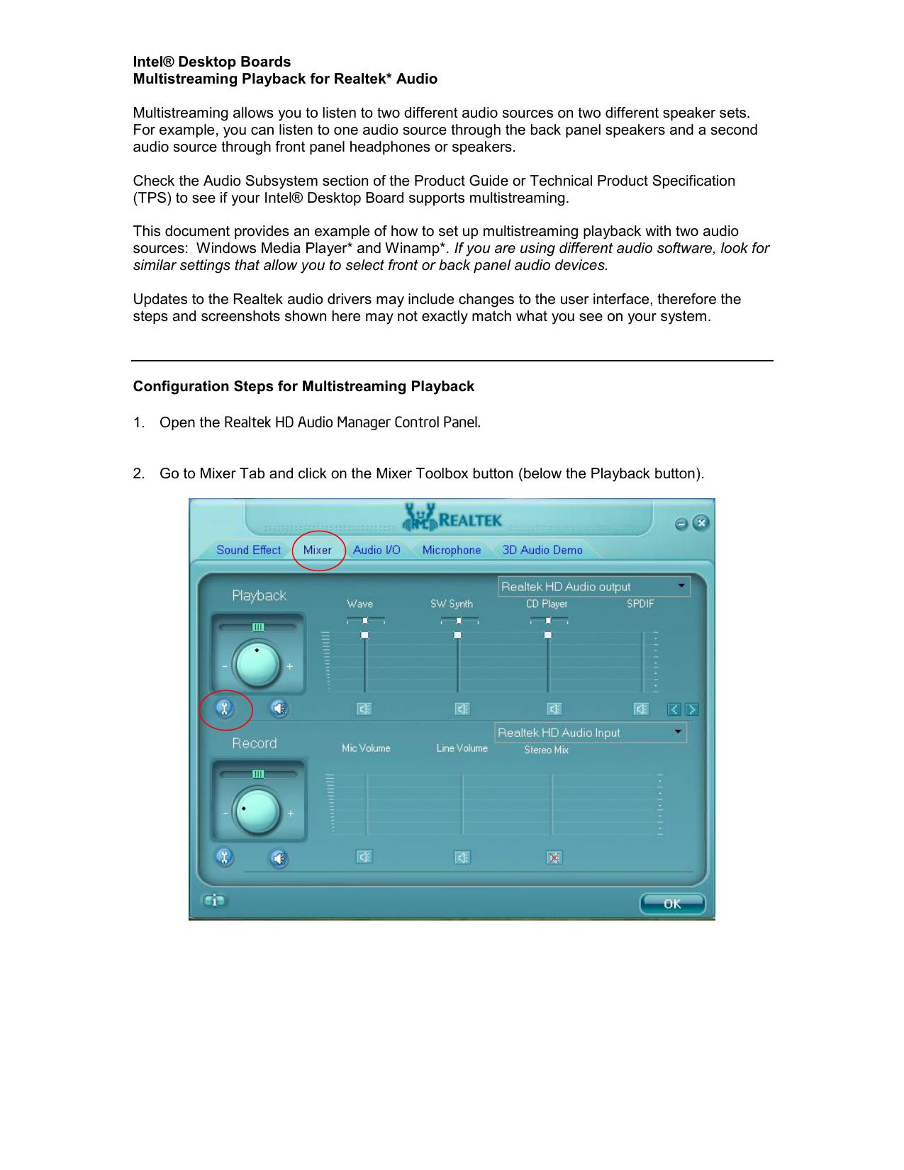 Intel® Desktop Boards Multistreaming Playback for Realtek