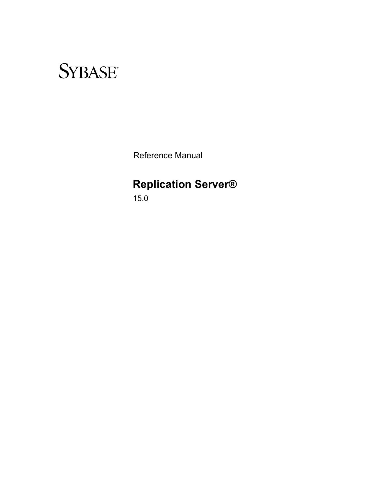 Replication Server - Sybase Infocenter | manualzz com