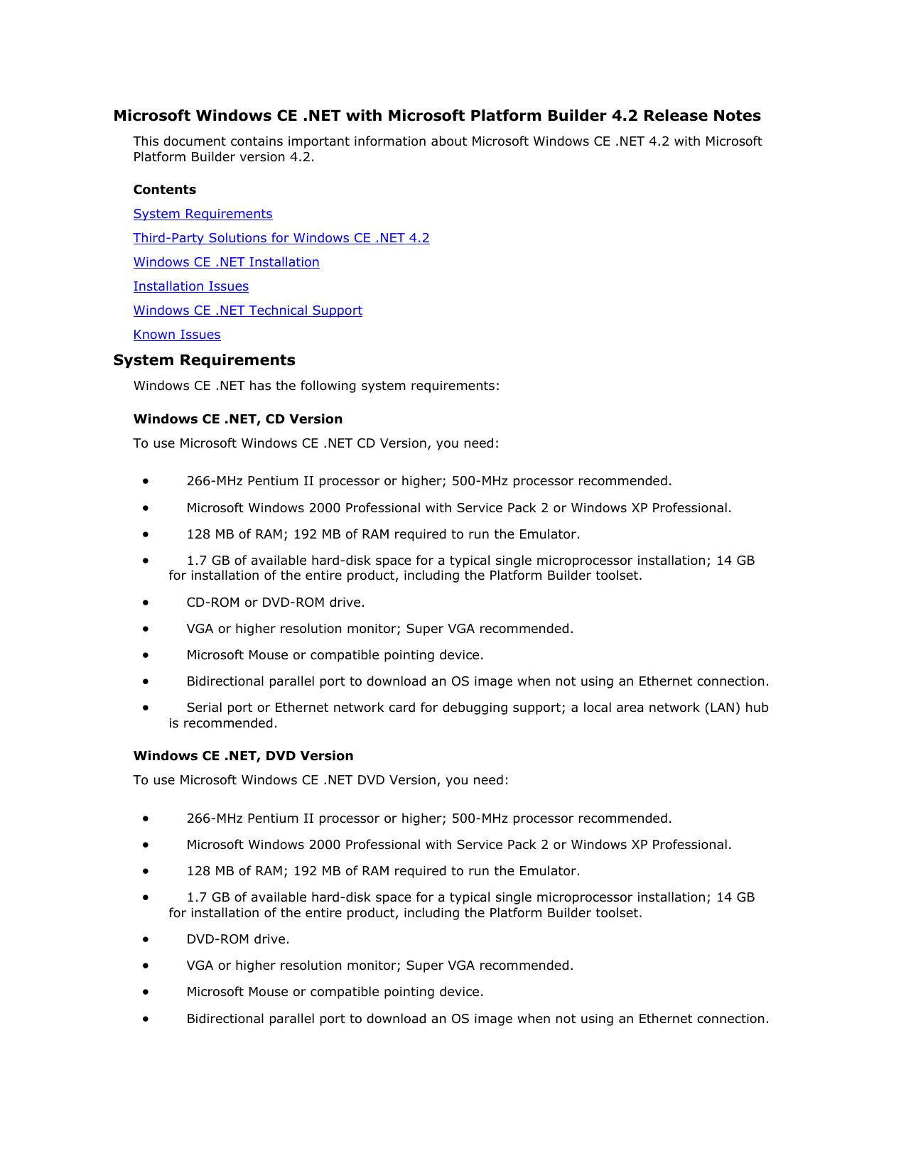 Microsoft Windows CE  NET with Microsoft Platform Builder