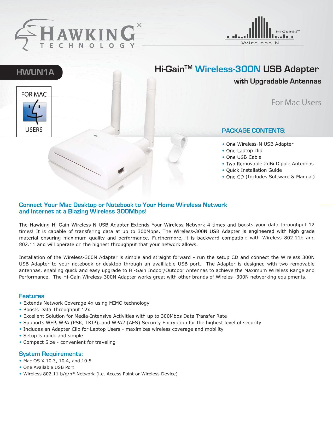 HAWKINGTECH WIRELESS-G USB ADAPTER WITH REMOVABLE ANTENNA DRIVERS WINDOWS 7