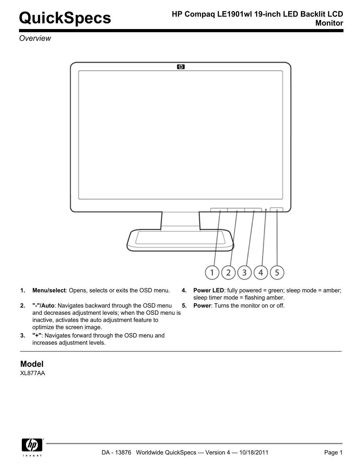 HP Compaq LE1901wl 19-inch LED Backlit LCD Monitor | manualzz com