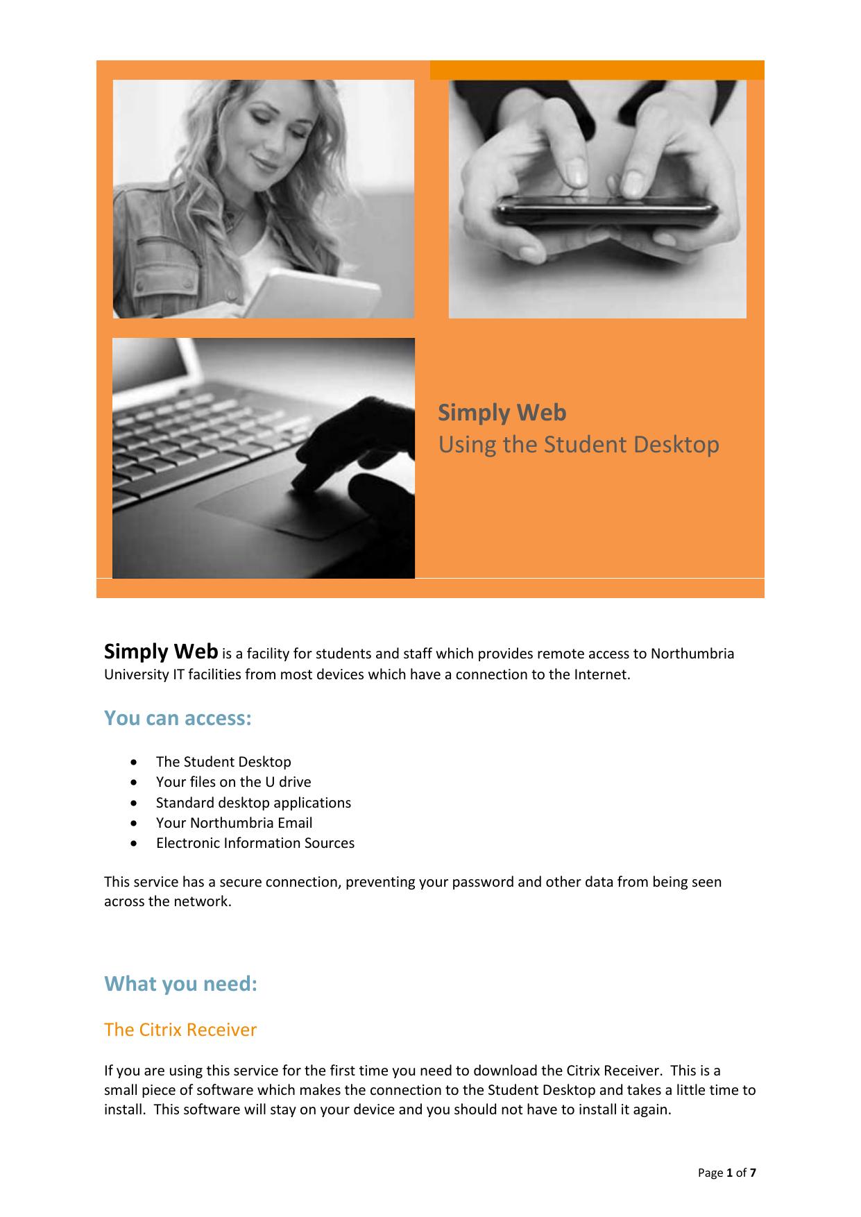 Simply Web Using the Student Desktop | manualzz com