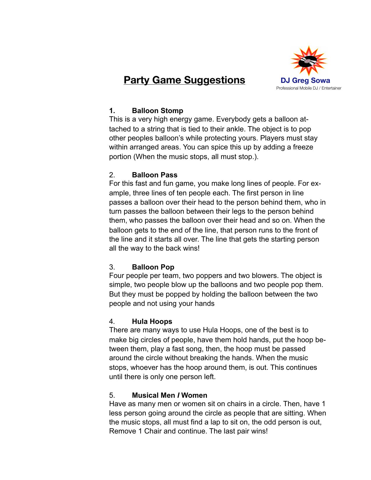 Party Games - DJ Greg Sowa | manualzz com
