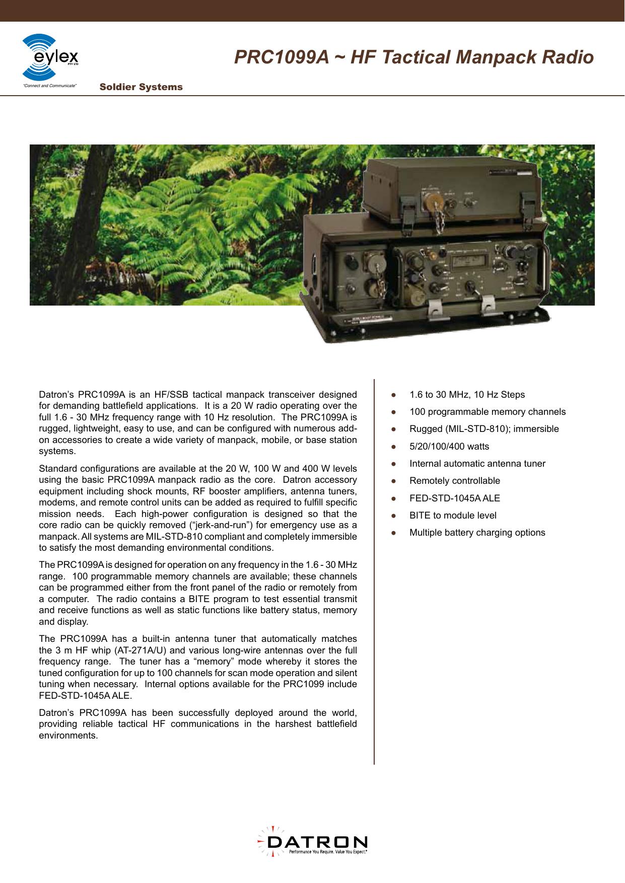 PRC1099A ~ HF Tactical Manpack Radio | manualzz com