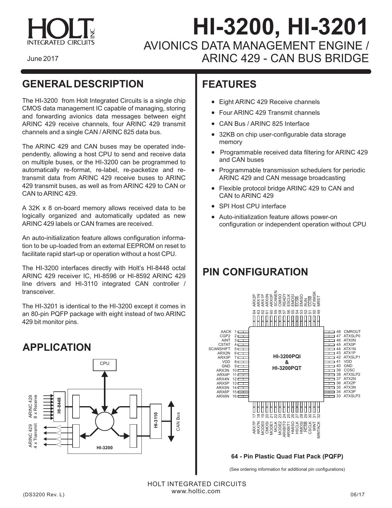 can bus wiring arinc 825 hi 3200  hi 3201 holt integrated circuits manualzz  hi 3200  hi 3201 holt integrated