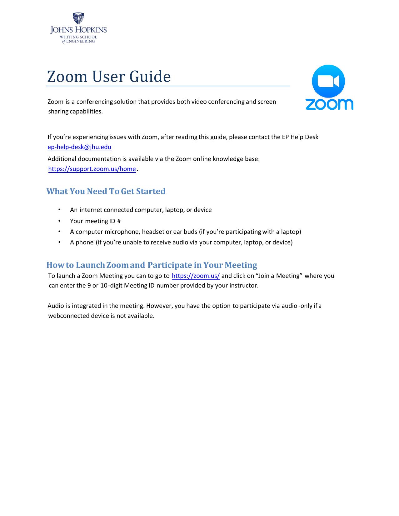 JHU Zoom User Guide   manualzz com