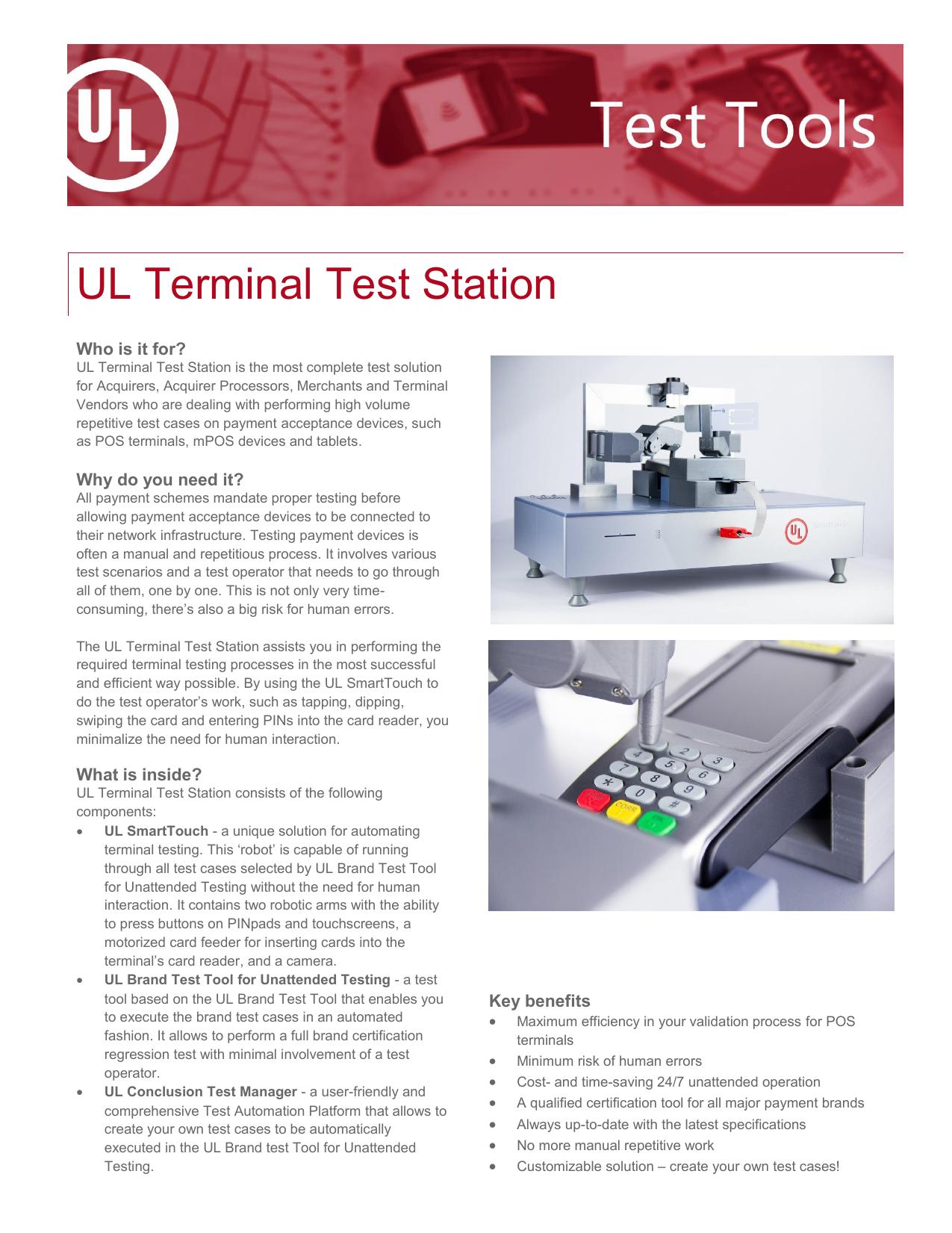 UL Terminal Test Station - UL Transaction Security | manualzz com