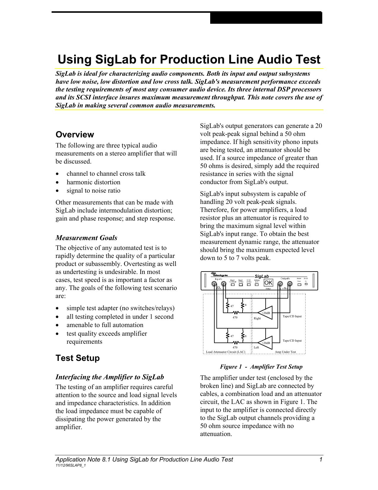 Using SigLab for Production Line Audio Test | manualzz com