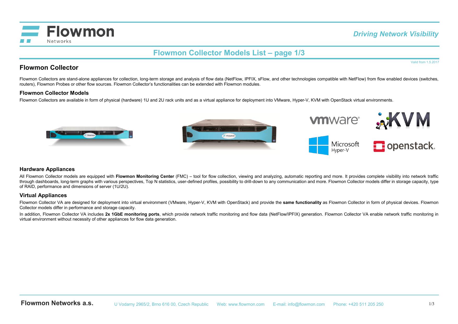 Flowmon Collector Models Specification   manualzz com