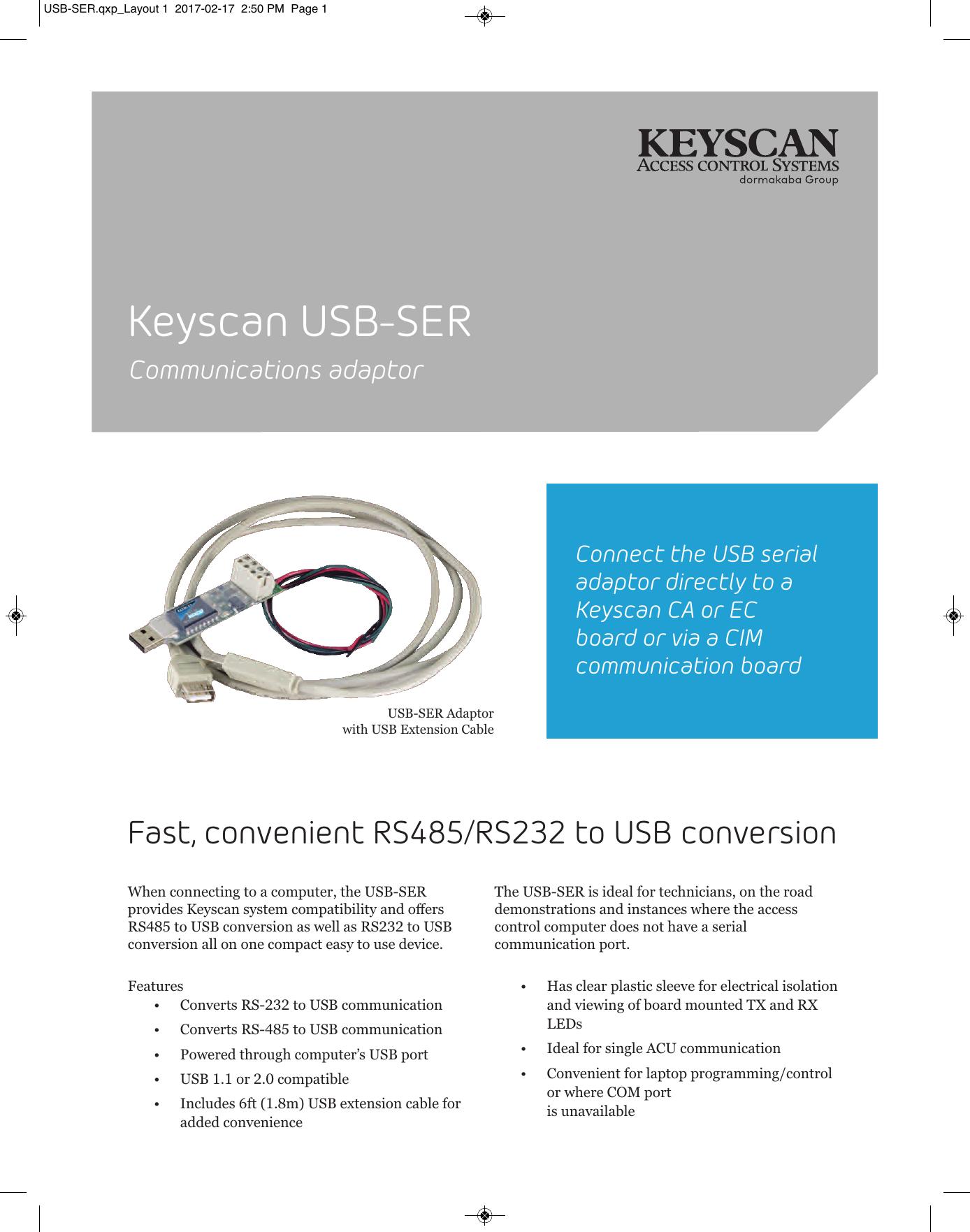 Keyscan USB-SER - Keyscan Access Control Systems | manualzz com