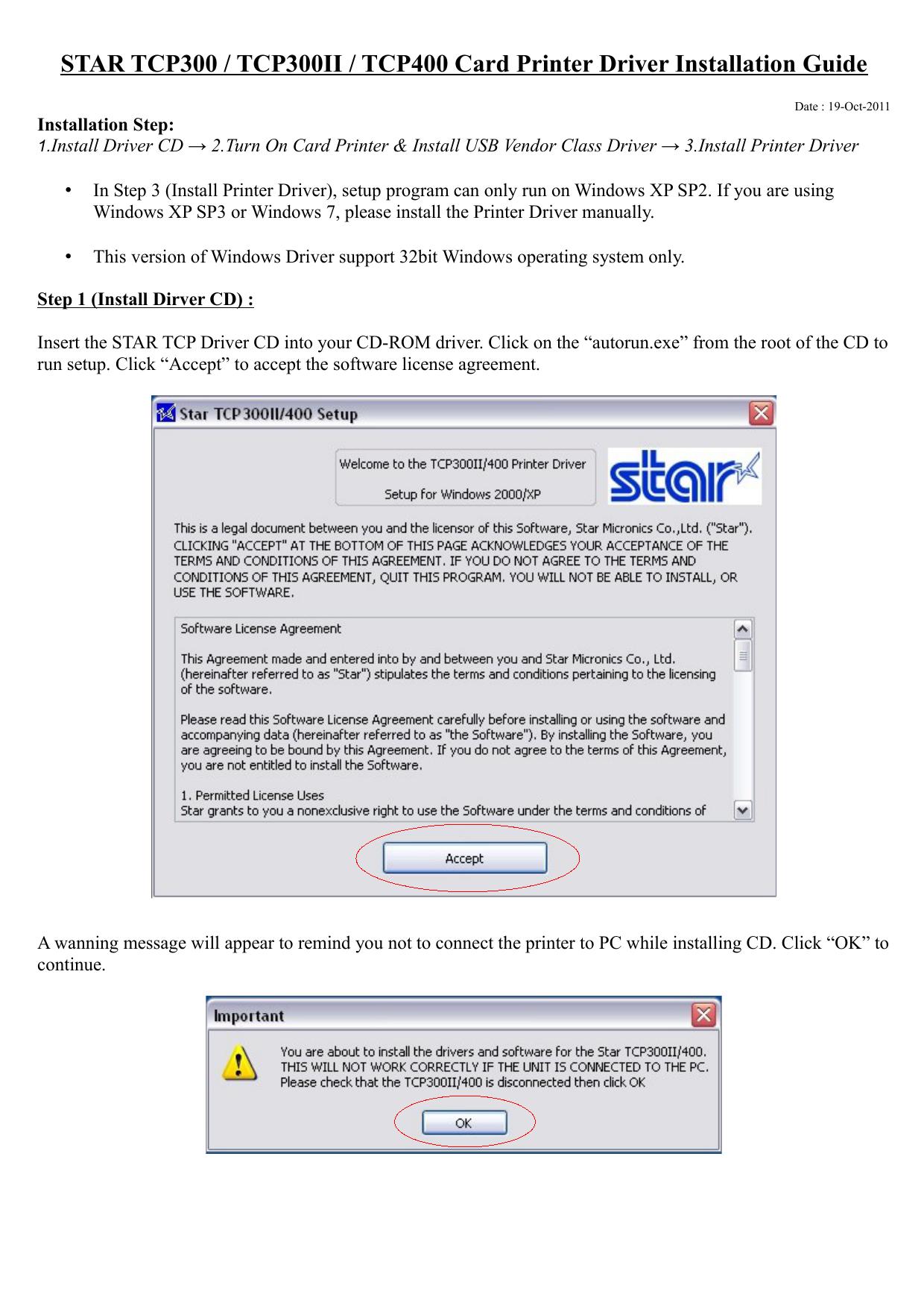 STAR TCP300 / TCP300II / TCP400 Card Printer Driver Installation