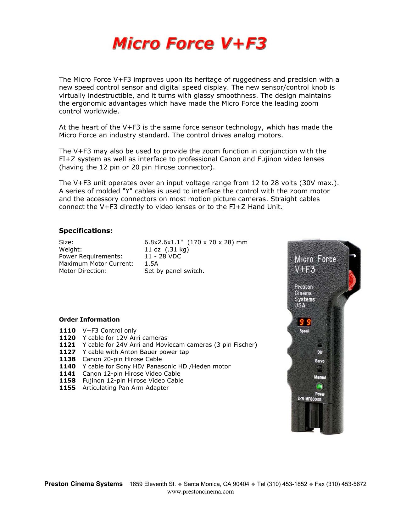 Micro Force V+F3 - Preston Cinema Systems   manualzz com