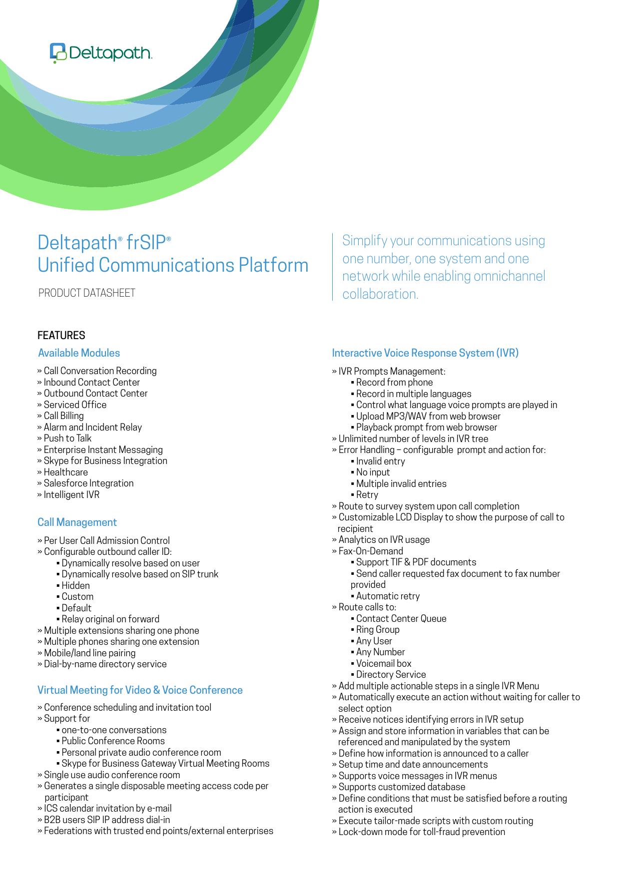 Deltapath® frSIP® Unified Communications Platform | manualzz com