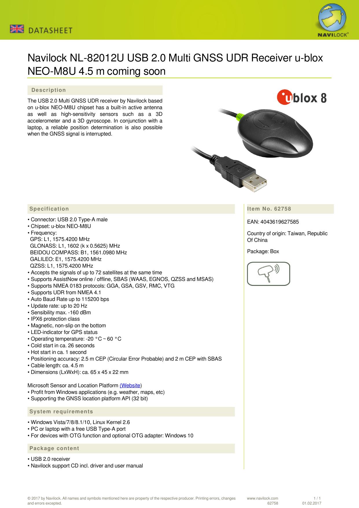 Navilock NL-82012U USB 2 0 Multi GNSS UDR Receiver u   manualzz com