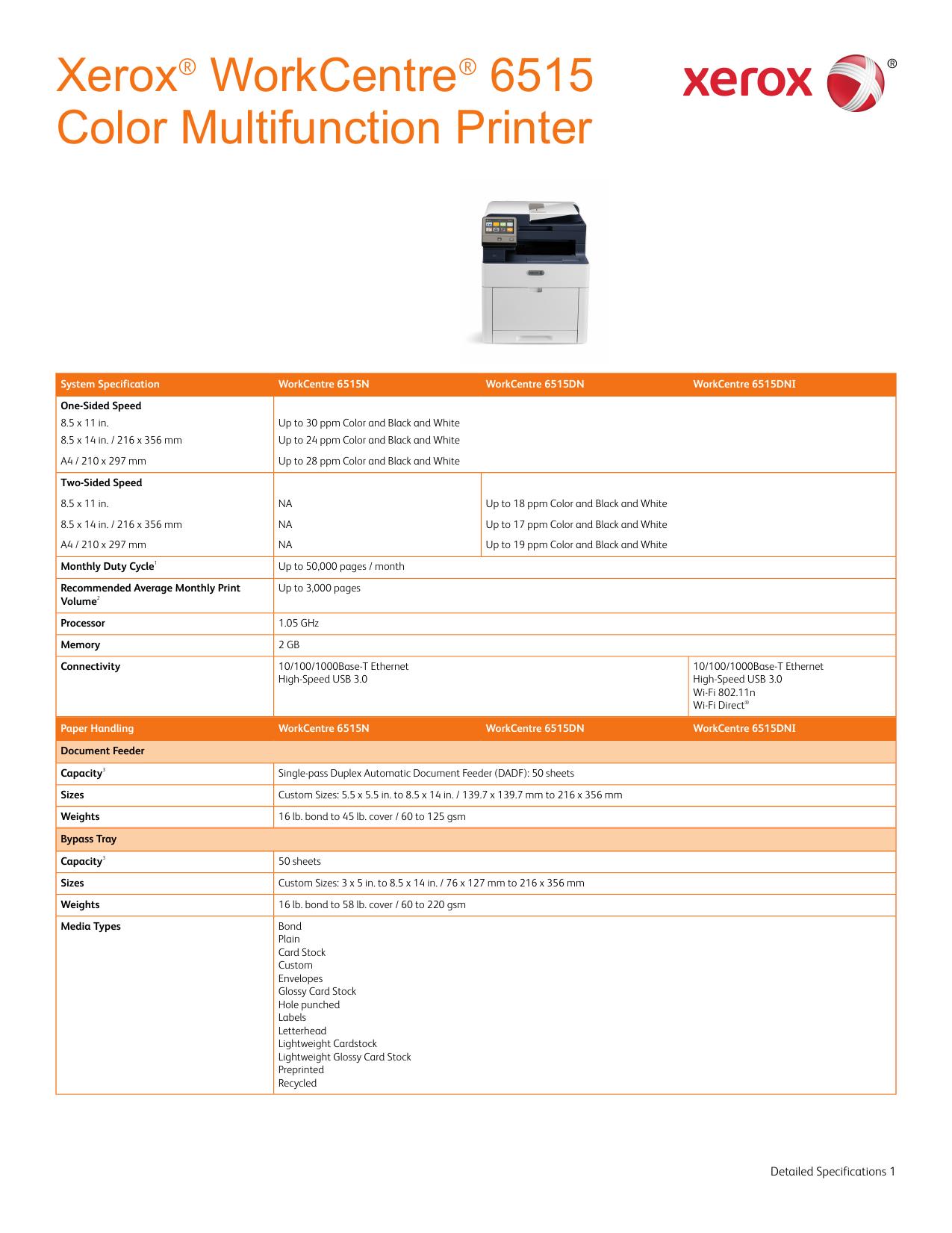 Xerox® WorkCentre® 6515 Color Multifunction Printer
