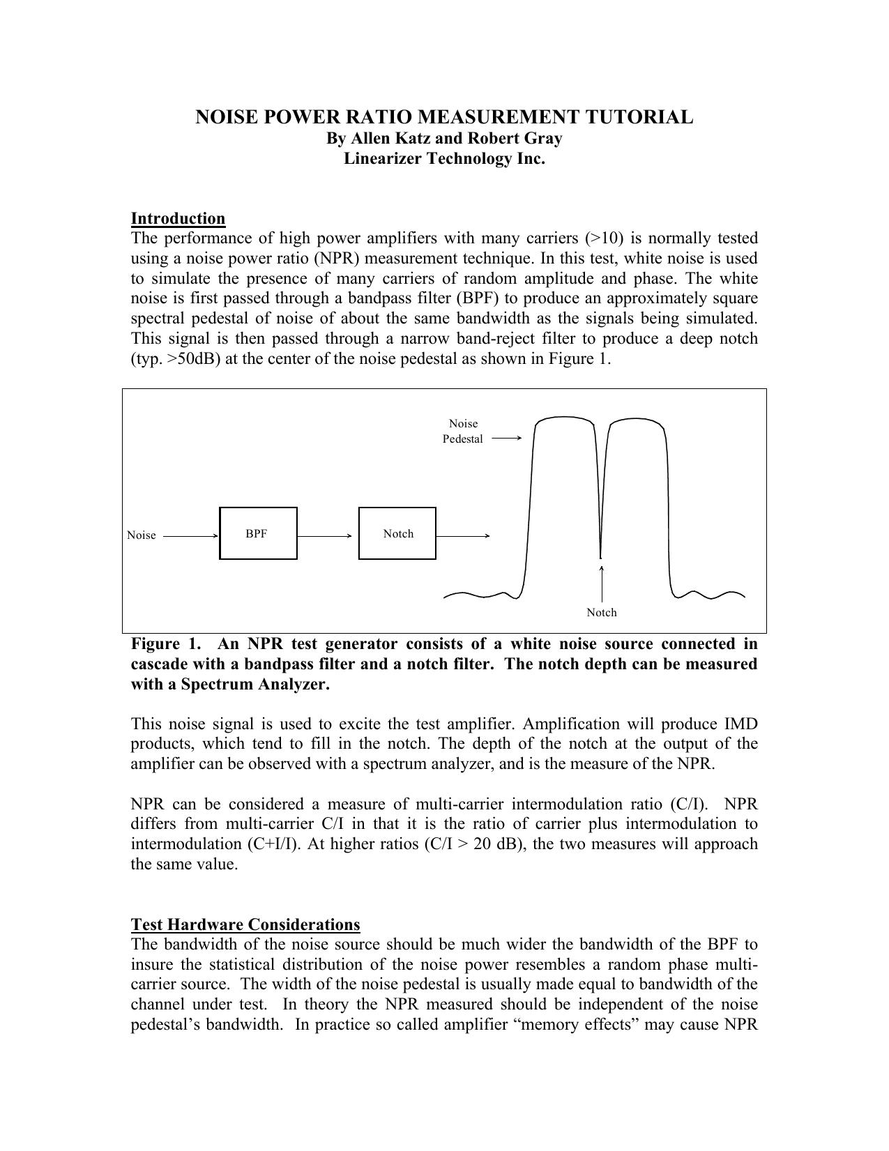 noise power ratio measurement tutorial   manualzz com