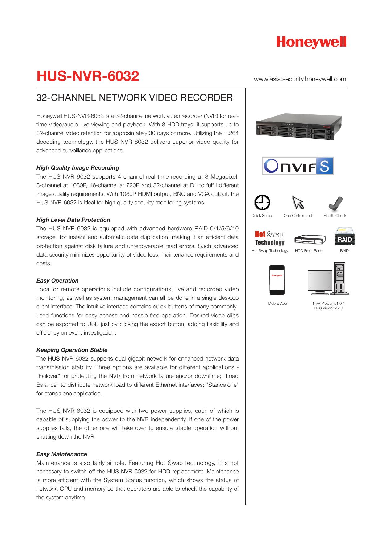 HUS-NVR-6032 - Honeywell Security Asia Pacific-IP | manualzz com