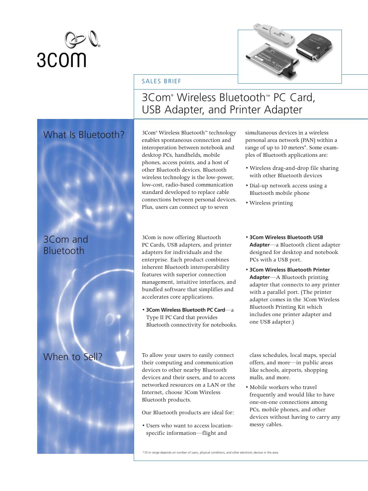 3Com® Wireless Bluetooth™ PC Card, USB Adapter, and Printer