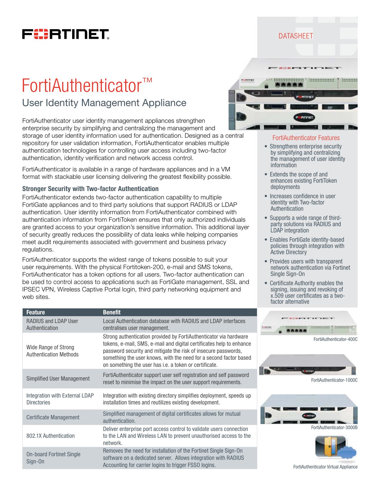 FortiAuthenticator Datasheet | manualzz com