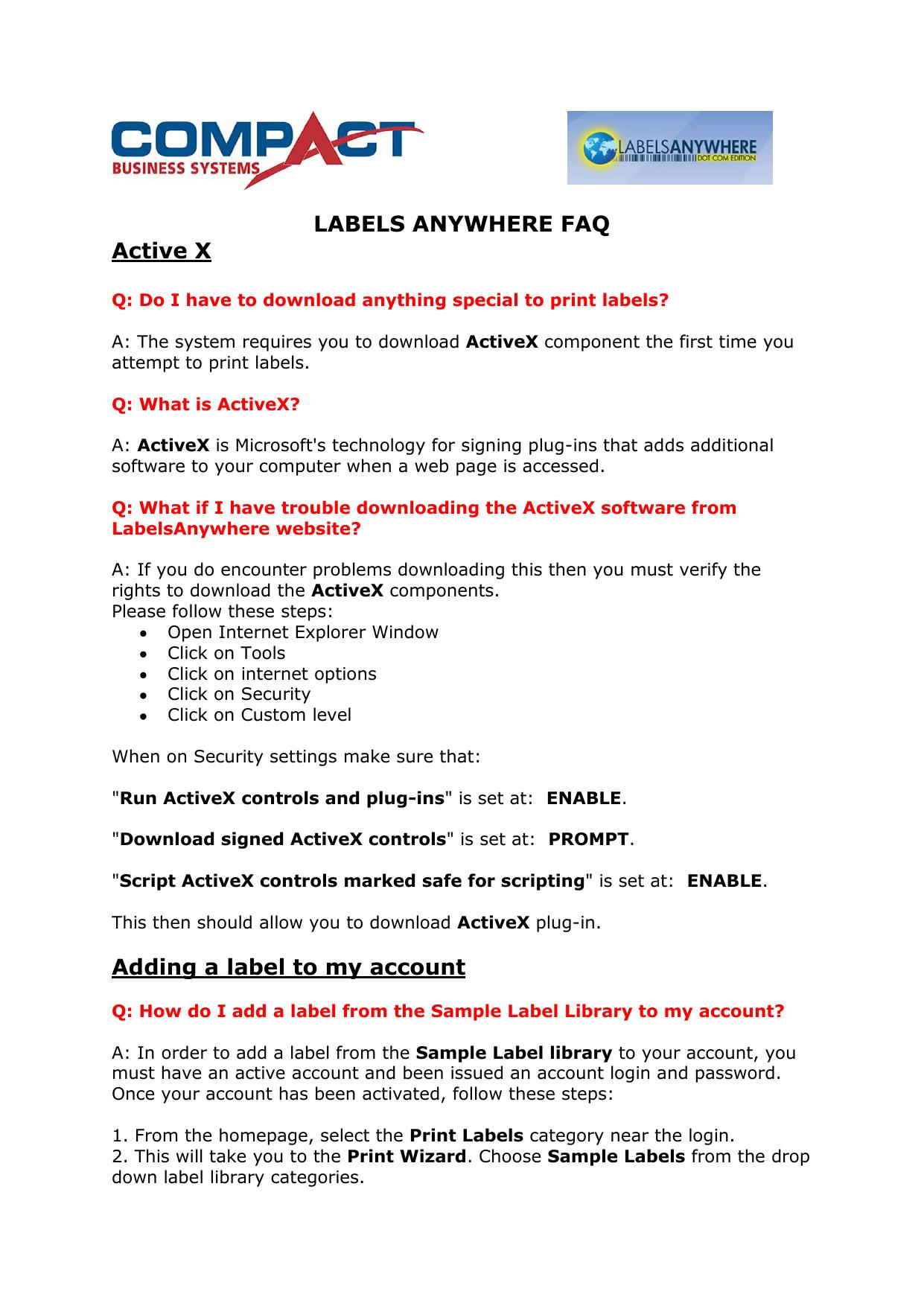 LABELS ANYWHERE FAQ Active X   manualzz com
