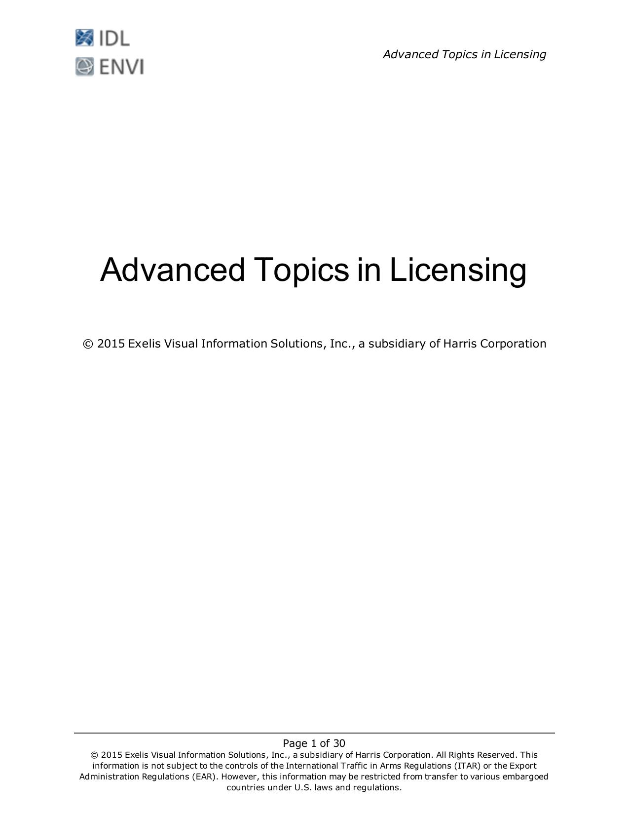 Advanced Topics in Licensing - Harris Geospatial Solutions
