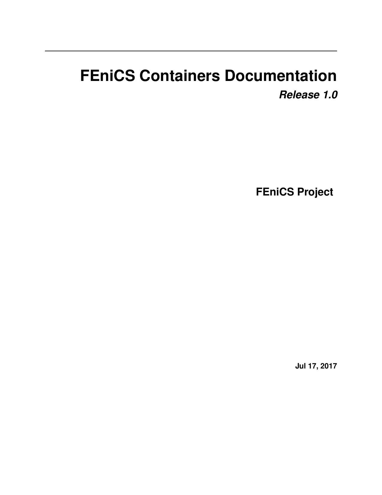 FEniCS Containers Documentation   manualzz com