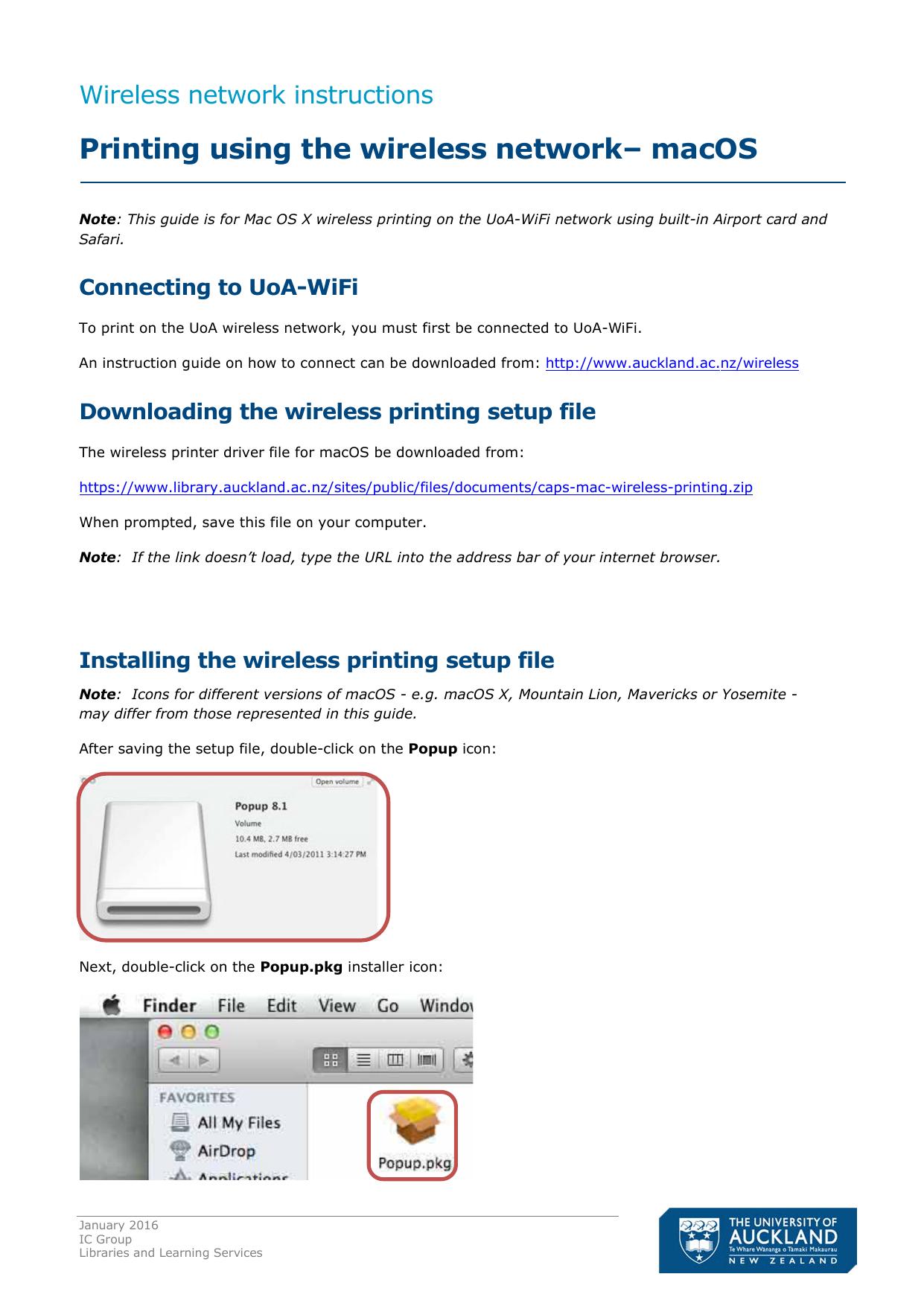 Printing using the wireless network– Mac OS X | manualzz com