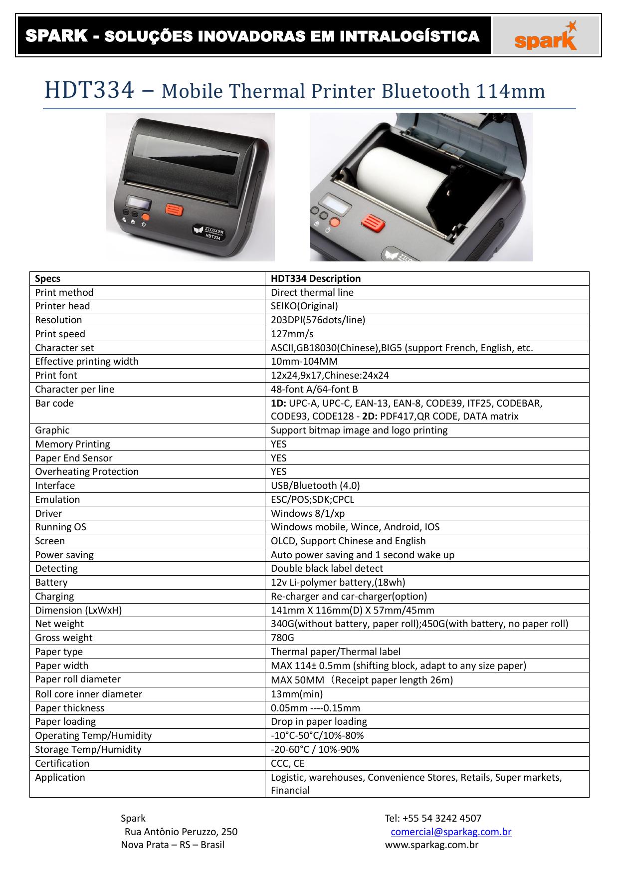 HDT334 – Mobile Thermal Printer Bluetooth 114mm | manualzz com