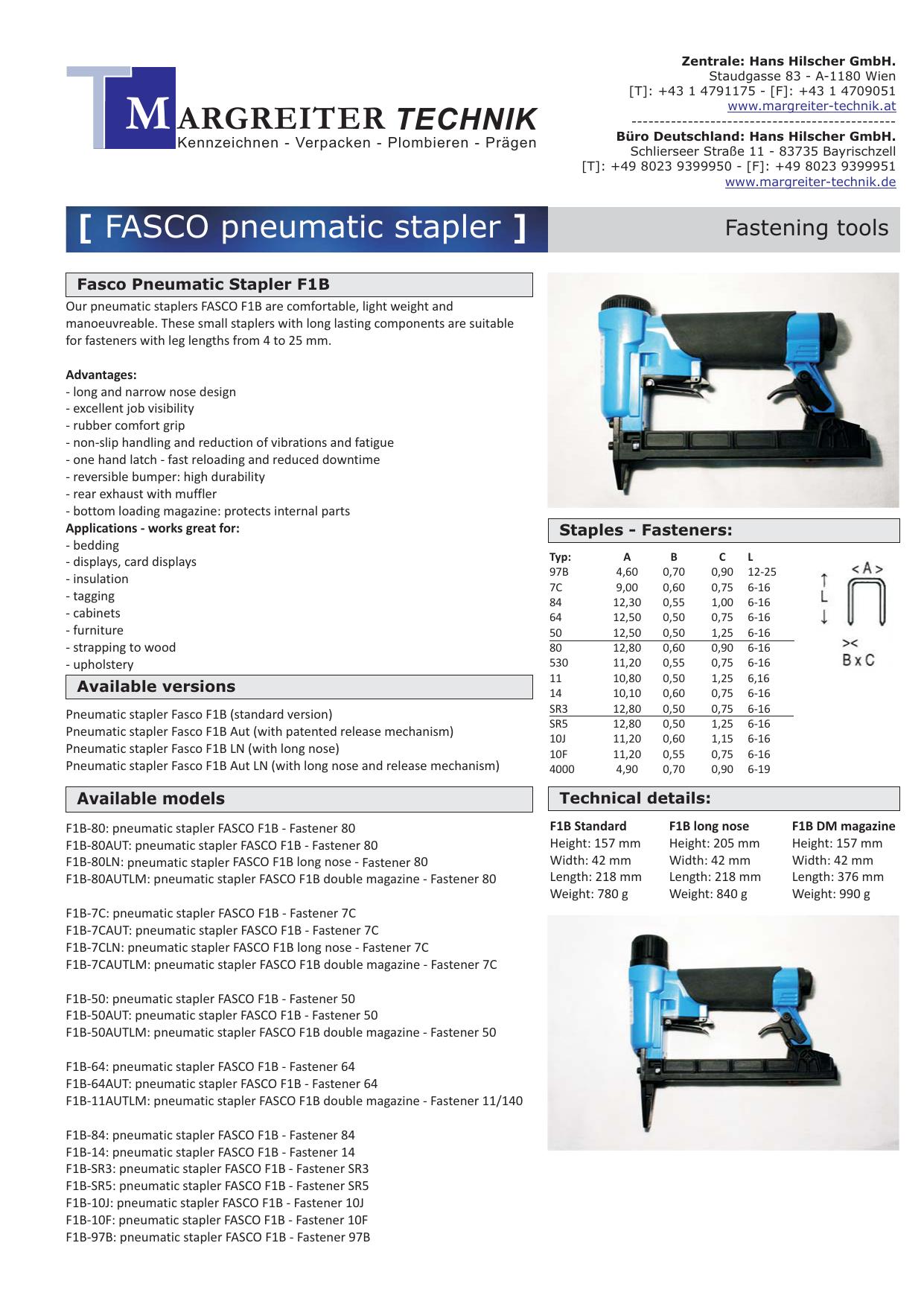 Fasco F1A 50-16 Upholstery Stapler DuoFast