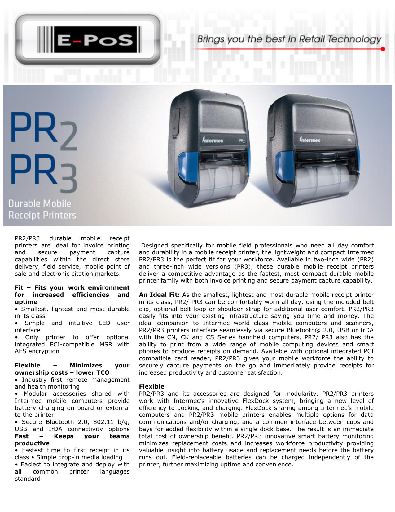 pr2 pr3 durable mobile receipt printers are ideal for e pos