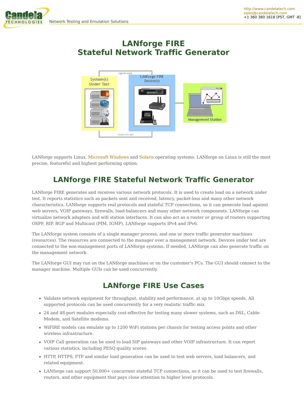 LANforge FIRE Stateful Network Traffic Generator | manualzz com
