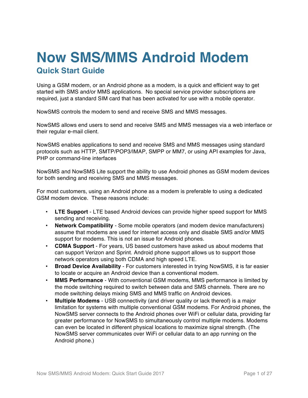 Now SMS/MMS Android Modem   manualzz com