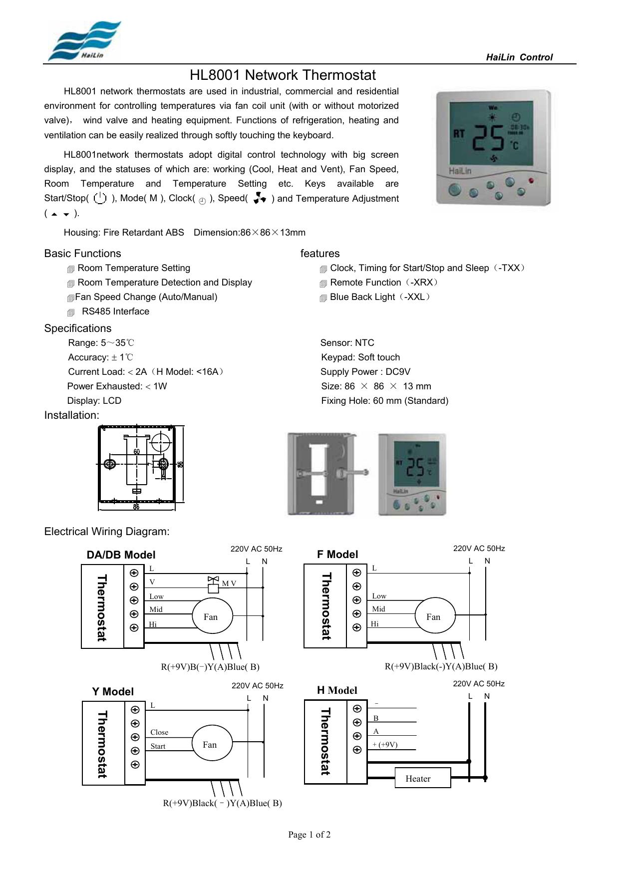 HL8001 Network Thermostat | manualzz.com on