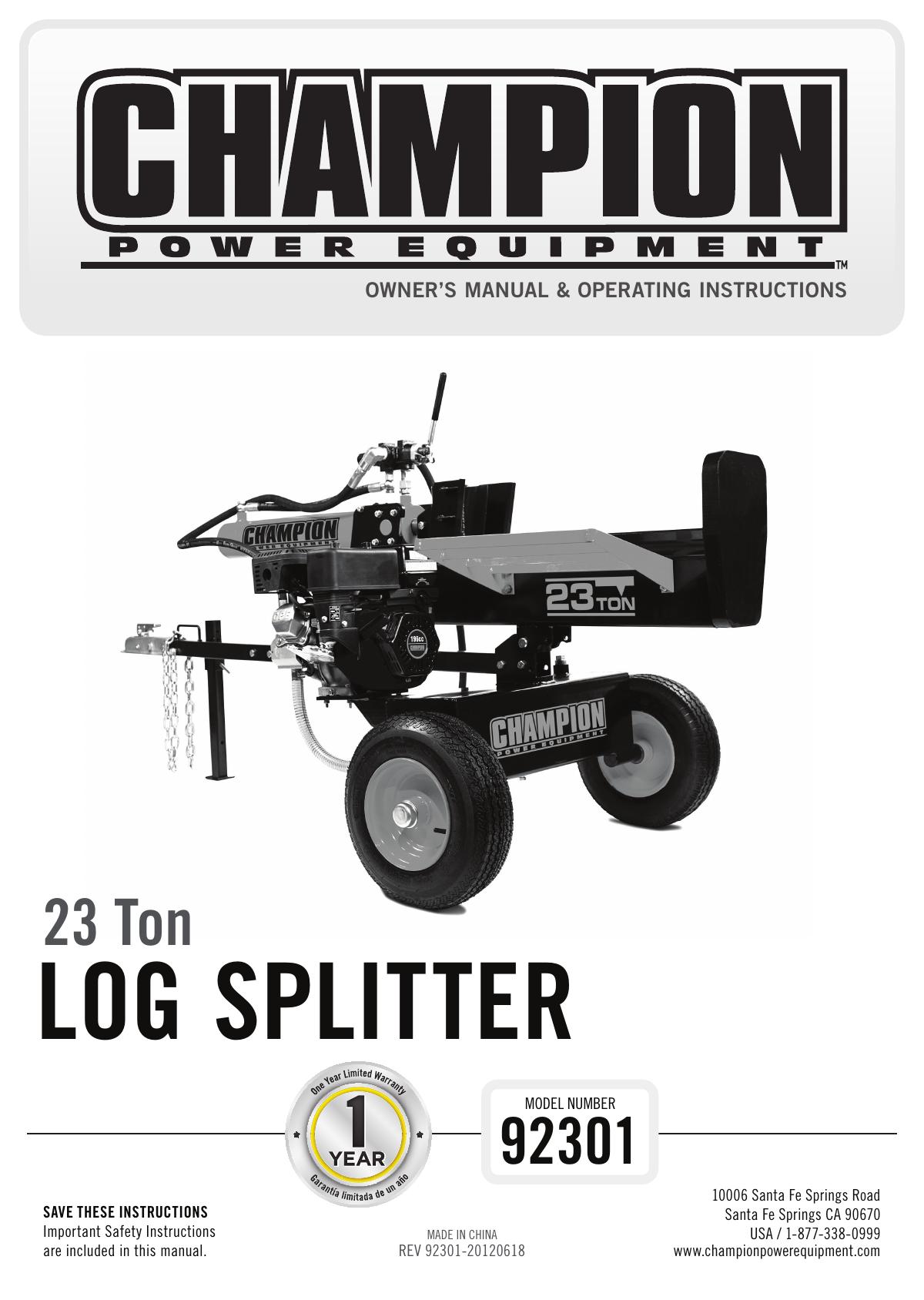 Log Splitter Champion Power Equipment 196cc Wiring Diagram