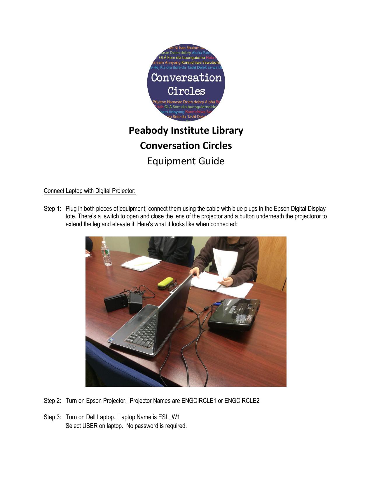 Peabody Institute Library Conversation Circles Equipment