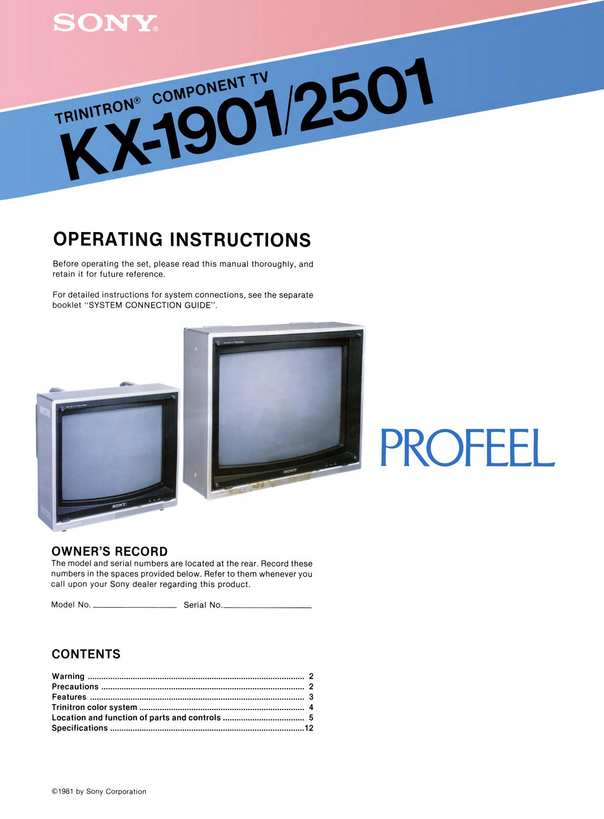 Sony Trinitron Component TV Profeel Series Models KX