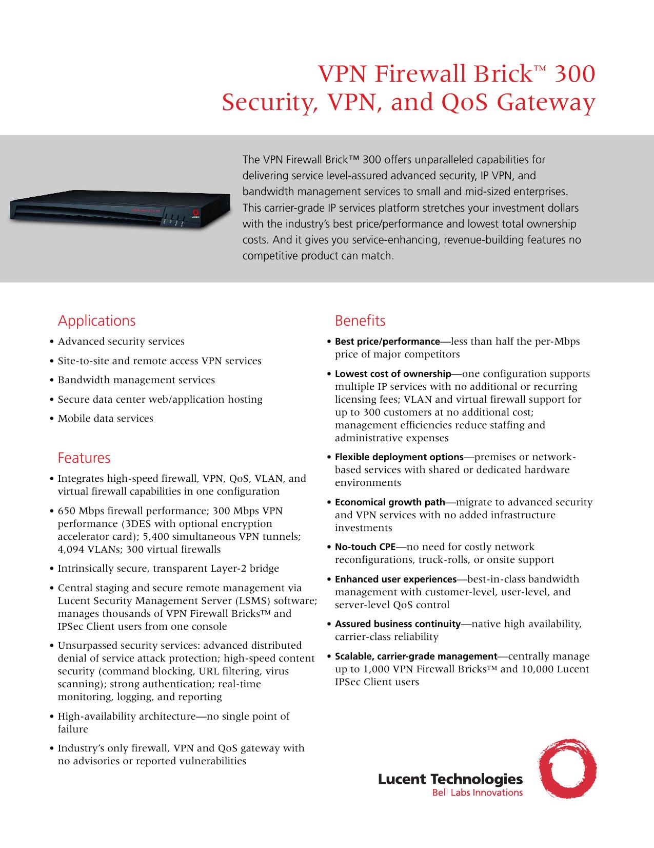 Alcatel-Lucent VPN Firewall Brick 150