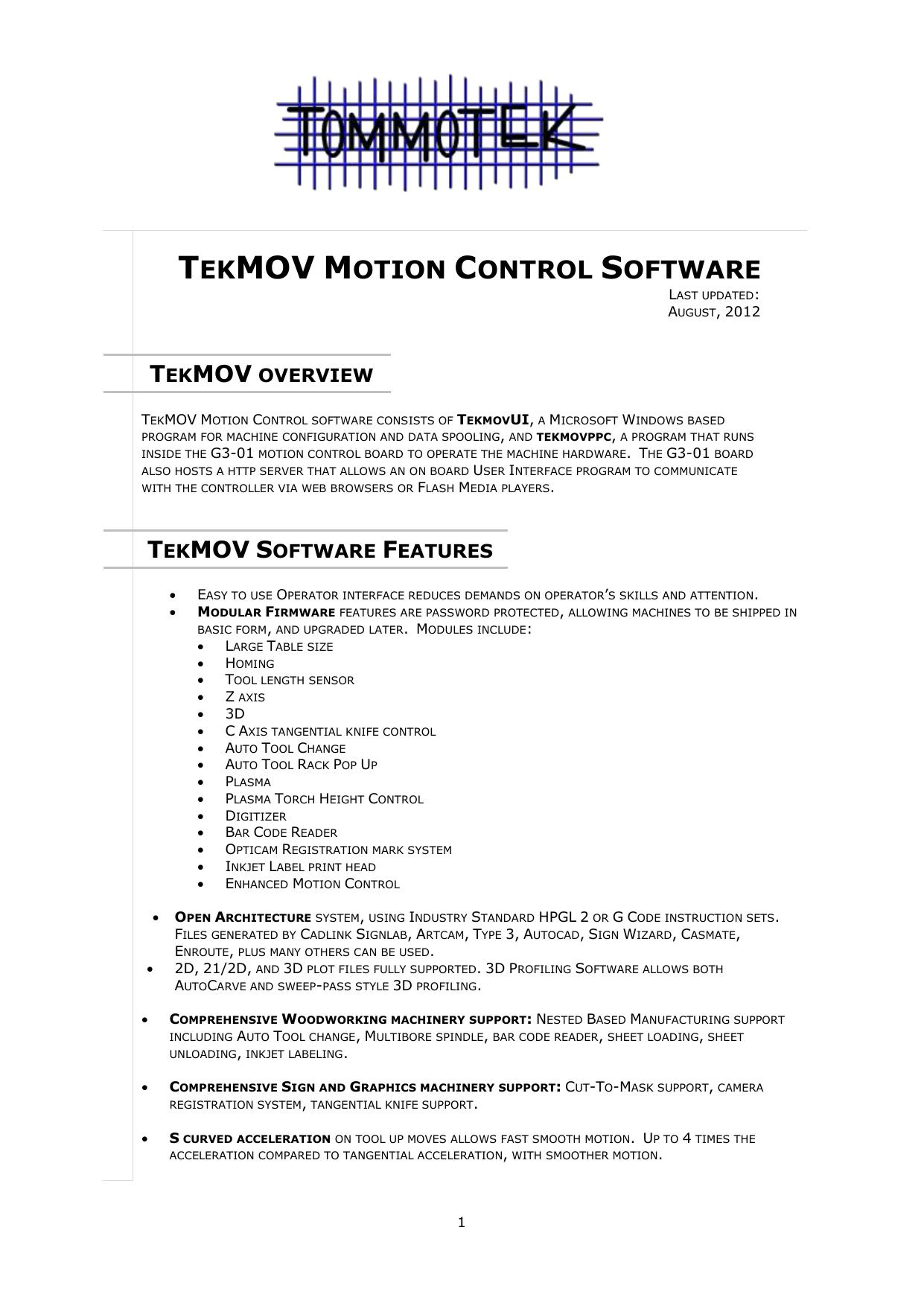 tekmov motion control software | manualzz com