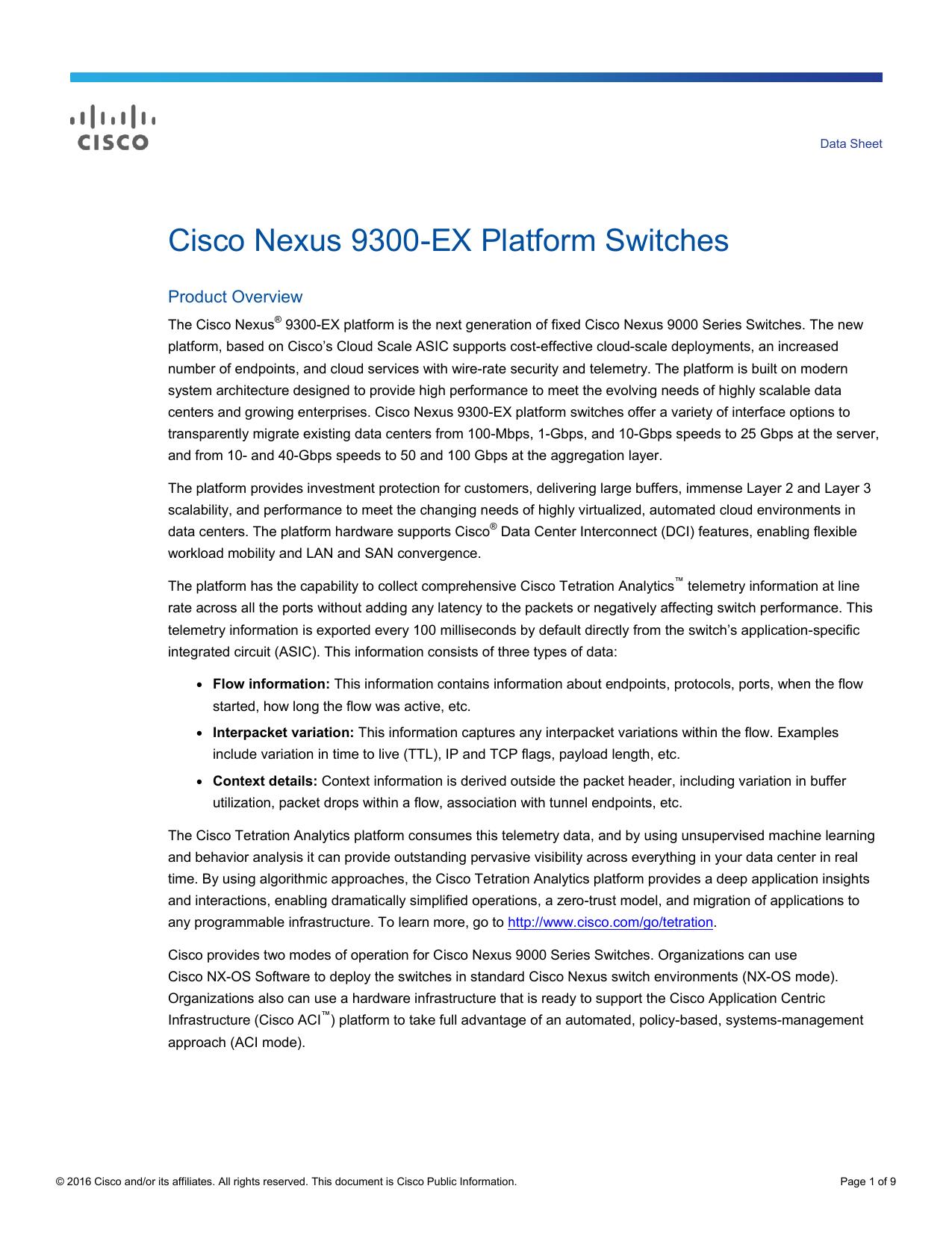 Cisco Nexus 9300-EX Platform Switches Data Sheet | manualzz com
