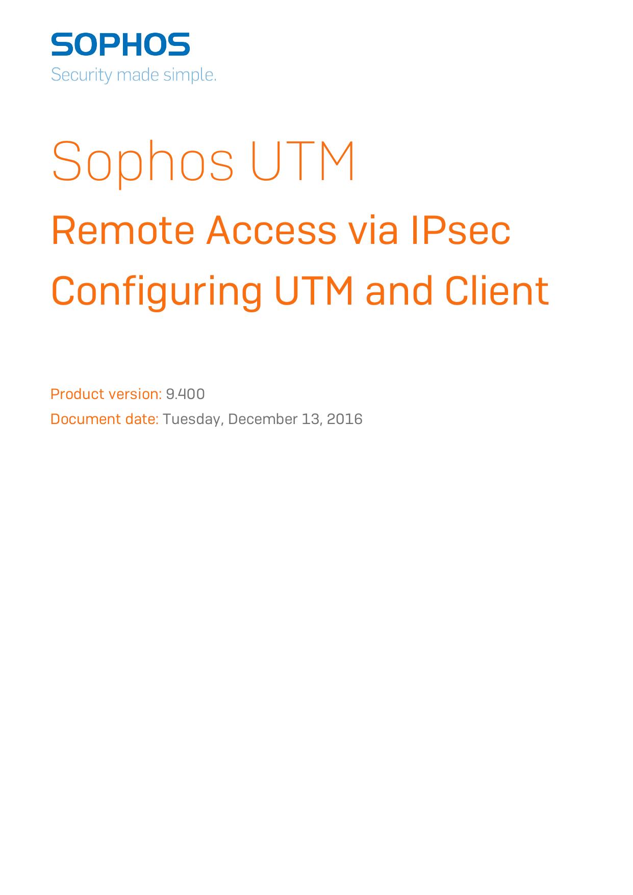 UTM - Remote Access via IPsec - Name   manualzz com