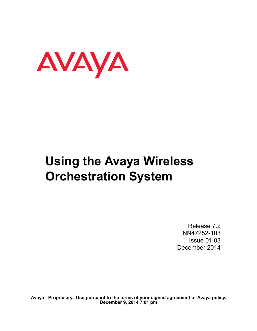 Using the Avaya Wireless Orchestration System   manualzz com