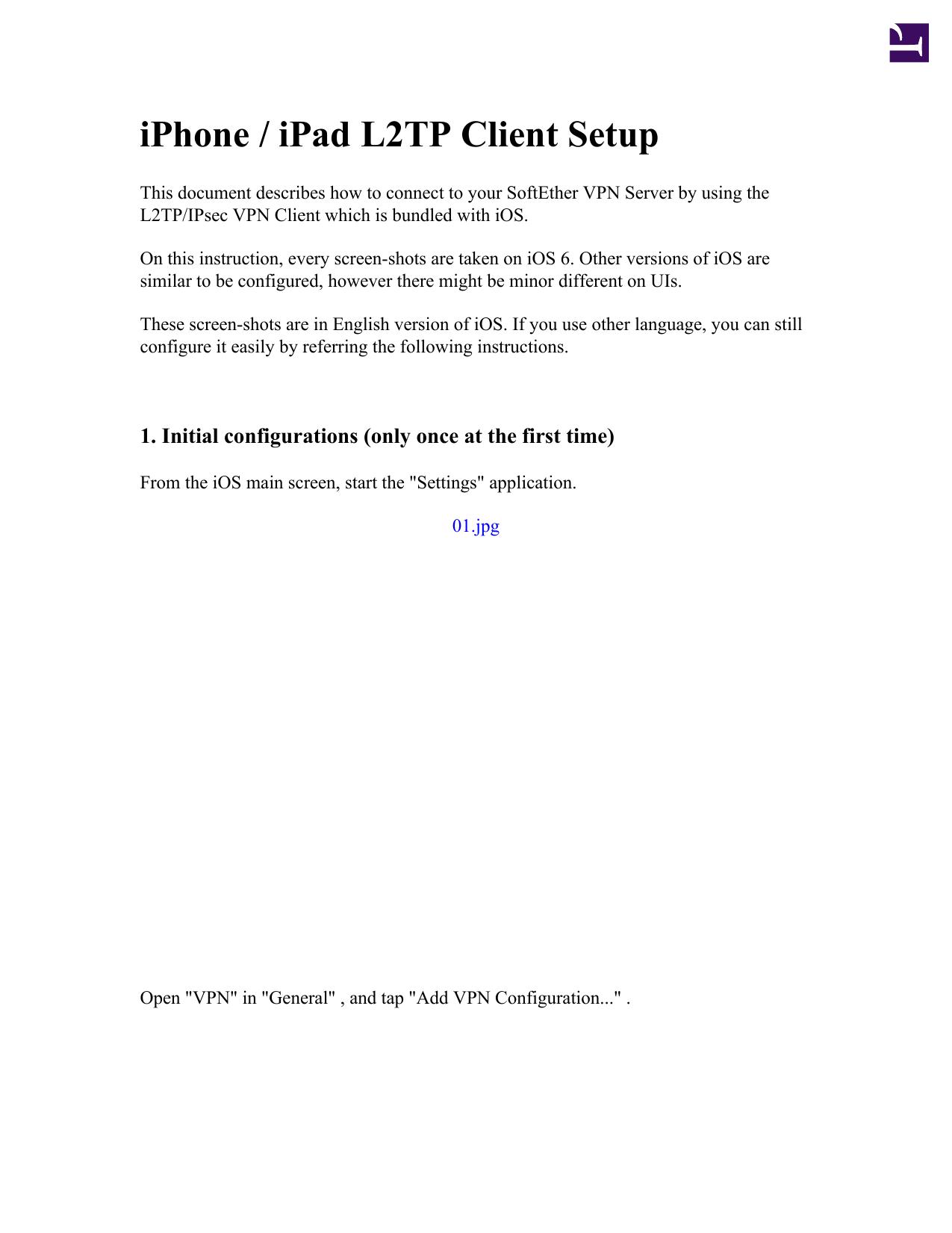 iPhone / iPad L2TP Client Setup | manualzz com