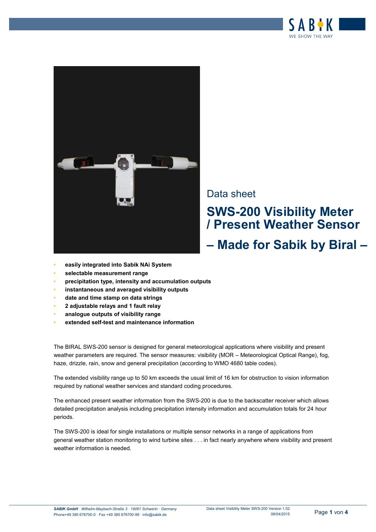 SWS-200 Visibility Meter / Present Weather Sensor | manualzz com