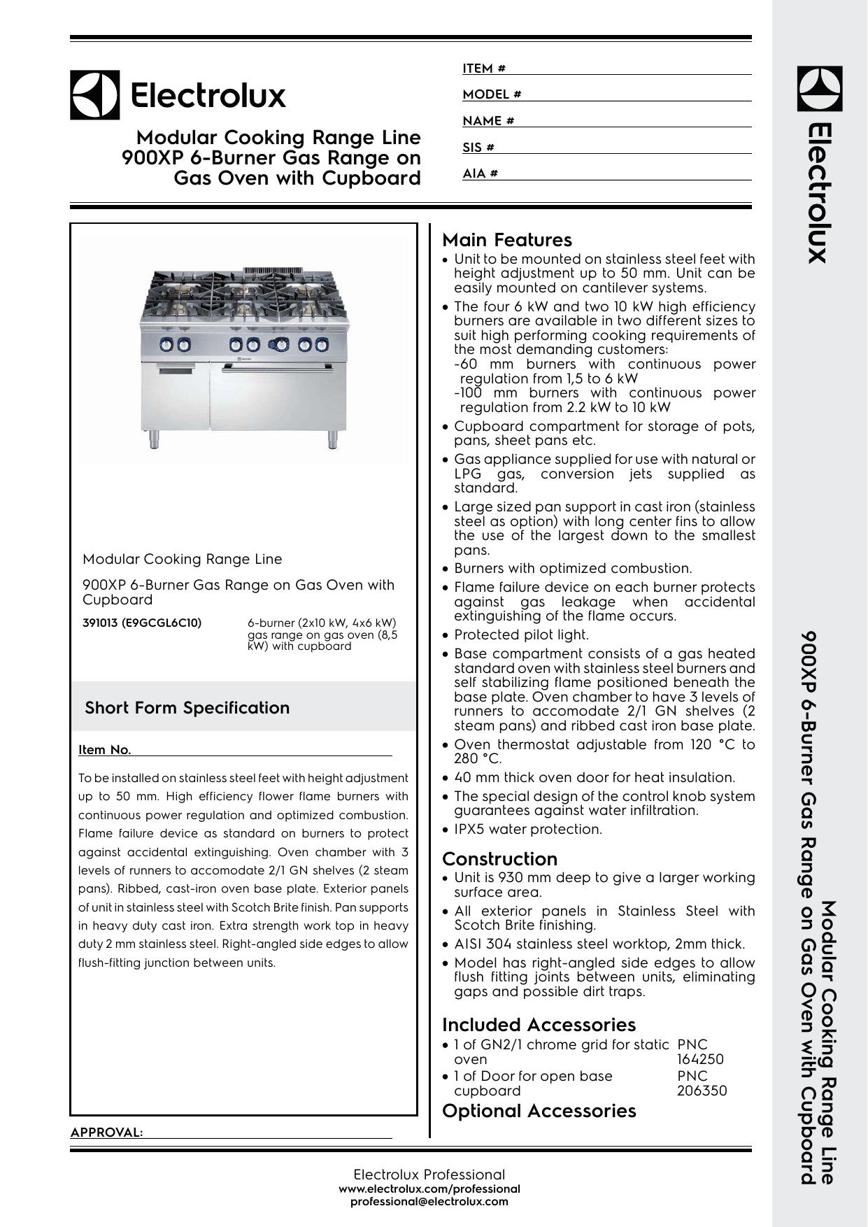 Modular Cooking Range Line 900XP 6-Burner Gas | manualzz com