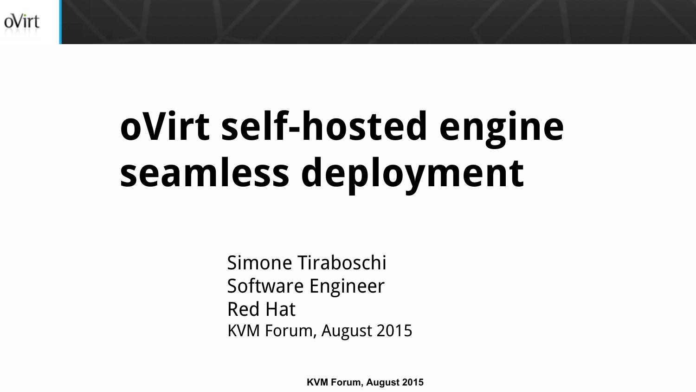 oVirt self-hosted engine seamless deployment | manualzz com