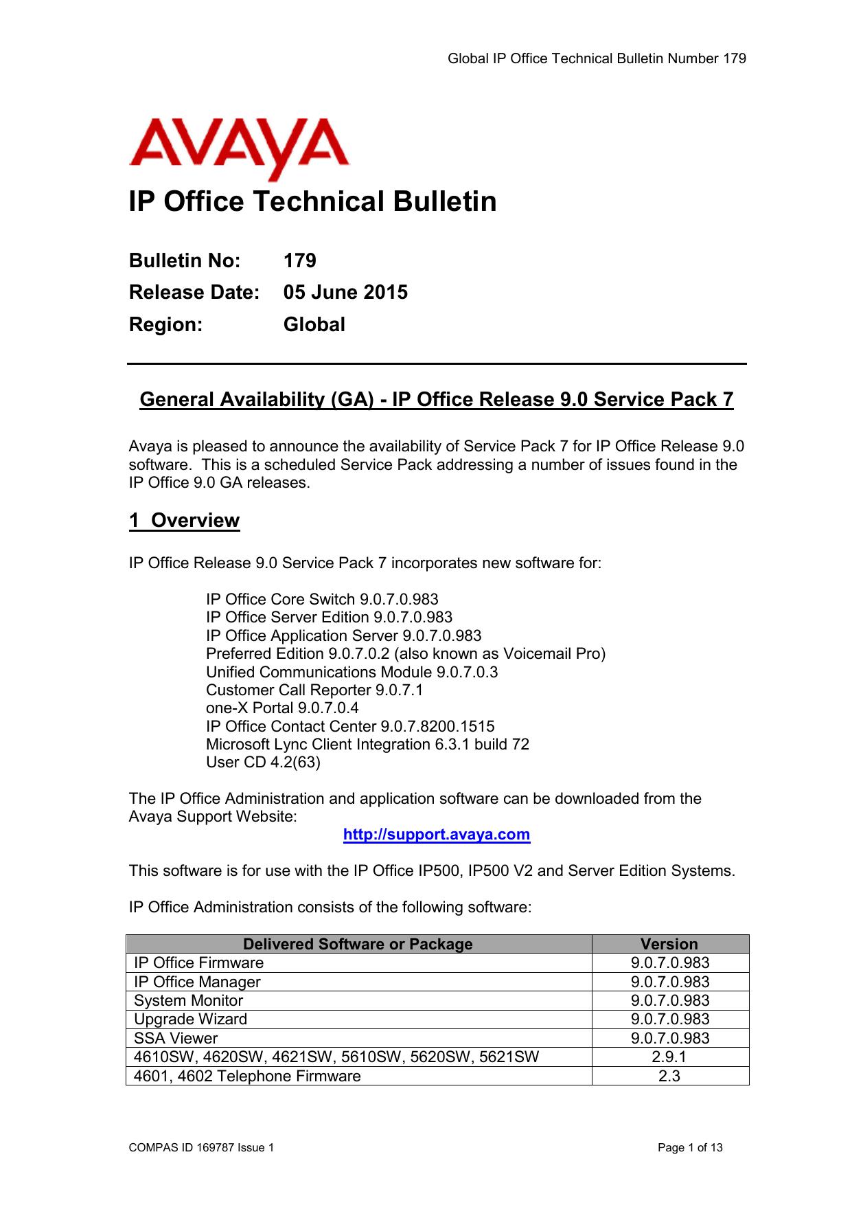 Global IP Office Technical Bulletin 179 - ipoffice